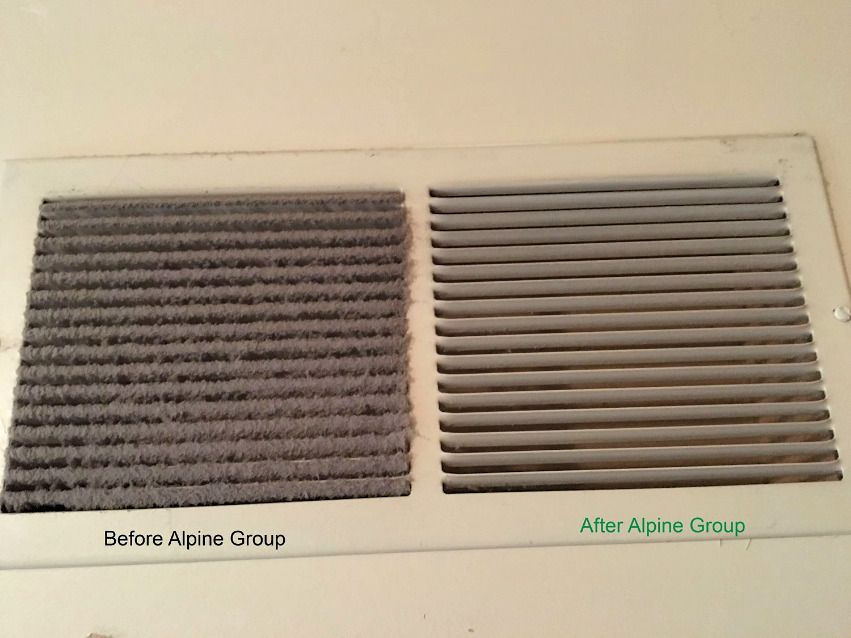 dirty air duct vent - before and after